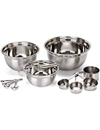 CheckOut Estilo 12 Piece Stainless Steel Mixing Bowls, Includes Measuring Cups, Measuring Spoons And Barrel Whisk compare