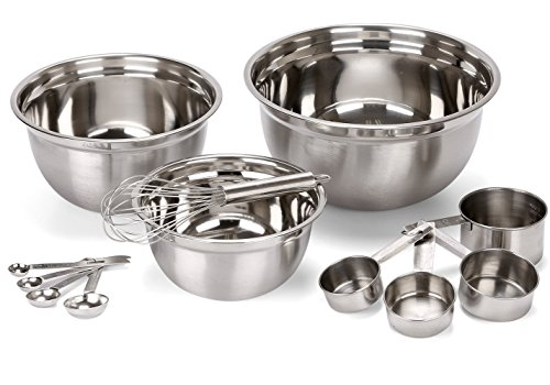 Estilo 12 Piece Stainless Steel Mixing Bowls, Includes Measuring Cups, Measuring Spoons And Barrel - 12 Piece Bowl