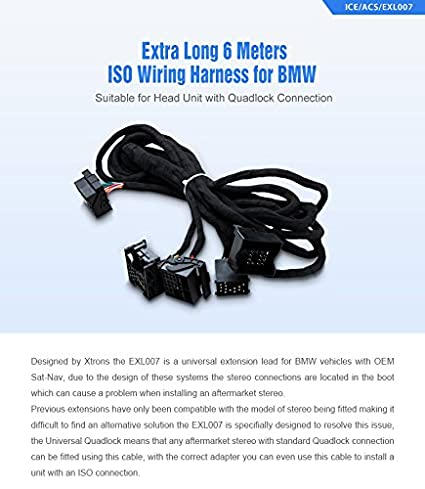 51V1PYwnlCL._SX425_ amazon com xtrons 6m wiring lead harness adapter for bmw e38 e39 xtrons wiring harness at gsmx.co