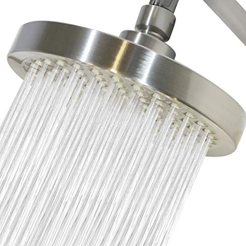 High Pressure Shower Head by Circle Splash -6 inch Brushed Nickel fixture-luxury rainfall -detachable  water restrictor-tool-free  installation with teflon tape