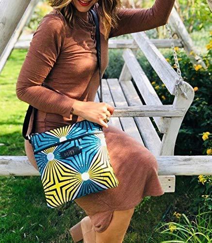 cadeau pour elle Id/ée Cadeau Noel Femme Sac Wax en Tissu Africain Ethnique Turquoise et Jaune id/ée cadeau