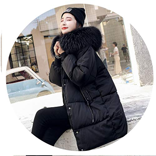 I'll NEVER BE HER Long Thick Slim Fur Collar Hoodie Down Coats Women Solid Long Sleeve Cotton Winter ETS,Black,XXXL
