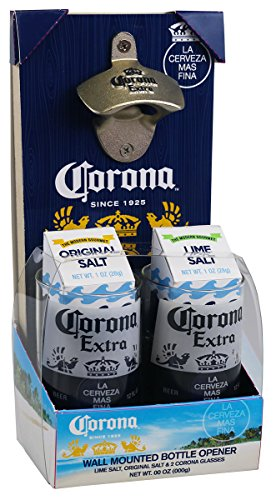 Corona Costume (Corona Extra Wall Mounted Bottle Opener Man Cave Set (2) Two 12 oz. Beer Glasses Lime & Plain Course Salt Gift)
