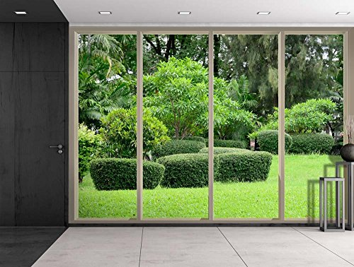 Green Shrubs and Trees at a Park Viewed From Sliding Door Creative Wall Mural Peel and Stick Wallpaper