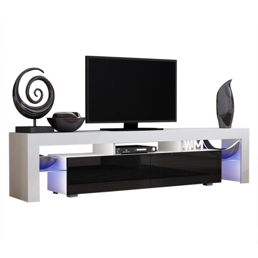 TV Stand Solo 200 Modern LED TV Cabinet / Living Room Furniture / Tv Cabinet fit for up to 90-inch TV screens / High Capacity Tv Console for Modern Living Room (WHITE/BLACK)