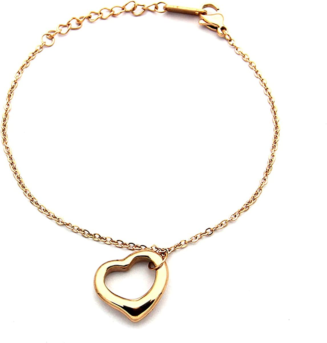 ❤Silver Rose gold mesh buckle bracelet Stainless Steal Hearts stones Love Charms