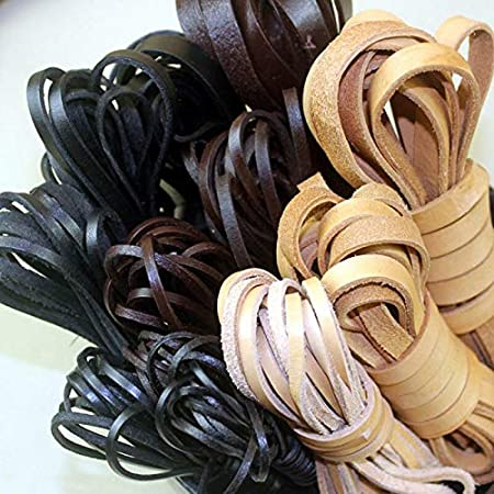 2Meter 3mm Genuine Leather Flat Cord String-Leather String Cord-Braid Leather Flat Cord-Leather Rope Necklace-Leather Cord for Jewelry Making-Craft Jewelry Accessories Material-Jewelry Making