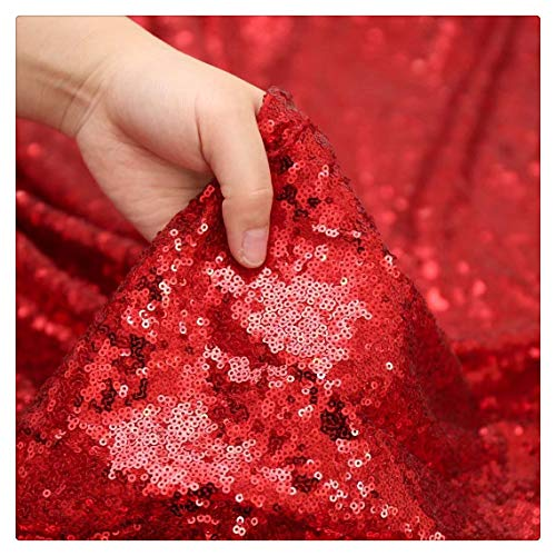 (QueenDream 4yards Sequin Tablecloth Designed Red Table Cover for Wedding Party Festival Table Cloth Decoration)