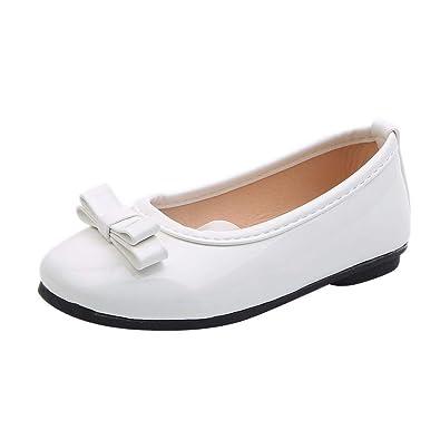 1f9311a263729 Mary Jane Fille Fille Chaussures de Princesse Ornés de Noeud Papillon Verni  Cuir Ballerines Fille pour