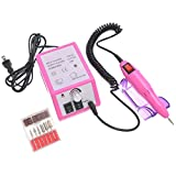 pink drill for nails - VALYRIA Professional Electric Nail Art Drill Machine Manicure Pedicure Kit Pink