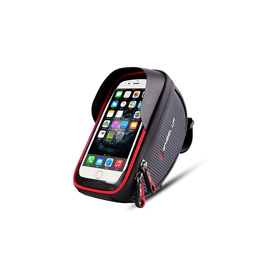 Bike Phone Mount Bag, Wallfire Bicycle Frame Bike Handlebar Bags with Waterproof Touch Screen Phone Case for iPhone X 8 7 6s 6 plus 5s Samsung Galaxy s7 s6 note 7 Cellphone Below 6.0 Inch + Rain Cover