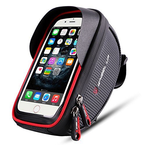 Bike phone mount bag, Wallfire Bicycle Frame Bike Handlebar Bags with Waterproof Touch Screen Phone Case for iPhone X 8 7 6s 6 plus 5s Samsung Galaxy s7 s6 note 7 Cellphone Below 6.0 Inch + Rain Cover (Waterproof Bike Mount)