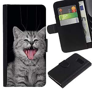 YiPhone /// Tirón de la caja Cartera de cuero con ranuras para tarjetas - Gato del bostezo - Sony Xperia Z3 Compact