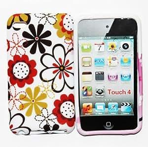 CHSH cáscara blando de TPU Silicona Cover para Apple iPod Touch 4 4th girasol crisantemo flor N0.10