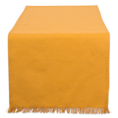 Spring Pumpkin - DII Cotton Woven Heavyweight Table Runner with Decorative Fringe for Spring, Summer, Family Dinners, Outdoor Parties, Everyday Use (14x72) Pumpkin Spice Solid