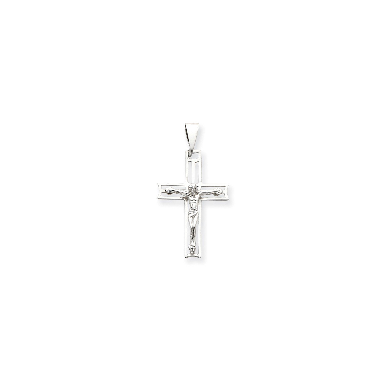 Roy Rose Jewelry 14K White Gold Crucifix Pendant 49mm length