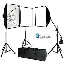LimoStudio Photo Video Studio 2400 Watt Softbox Continuous Light Kit with Overhead Head Light Boom Kit, AGG891