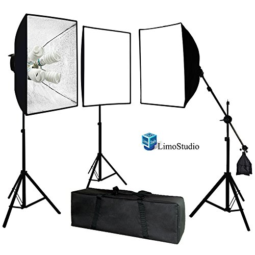 LimoStudio Photo Video Studio 2400 Watt Softbox Continuous Light Kit with Overhead Head Light Boom Kit, AGG891 by LimoStudio