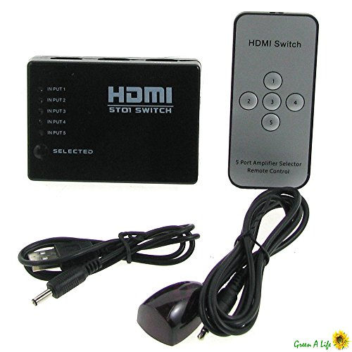 5 PORT HDMI Switch Switcher Selector Hub+iR Remote+Power Supply Full HD 1080p 3D