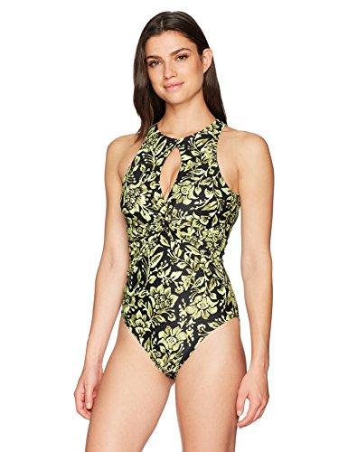 Amazon Brand - Coastal Blue Women's One Piece Swimsuit, Yellow/Black Floral, XL