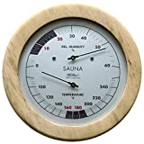 Fischer Sauna Thermometer (°Fahrenheit) & Hygrometer 6.1 Inch, 196TH-03F - Made in Germany