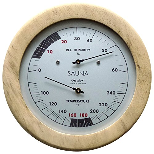 Fischer Sauna Thermometer (Fahrenheit) & Hygrometer 6.1 Inch, 196TH-03F - Made in Germany