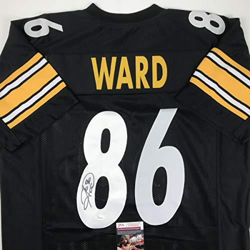 Autographed/Signed Hines Ward Pittsburgh Black Football Jersey JSA COA