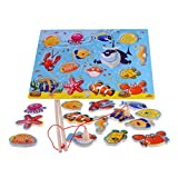 rolimate 14-Piece Fishes Basic Educational Development Wooden Magnetic Bath Fishing Travel Table Game, Birthday Gift Toy for age 3 4 5 Year Old Kid Children Baby Toddler Boy Girl Magnet Toy (2.0)