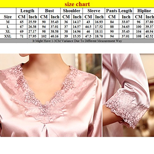 Zhhlinyuan Women's Satin Silk Long Sleeve Sleepwear Nightwear Pajama Set TZ028 Light Purple