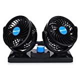 12V Car Fan Dual Head Electric Auto Cooling Fan Two Speeds Adjustable with Cigarette Lighter Plug In 360 Degree Manual Rotation for Trucks or Car.