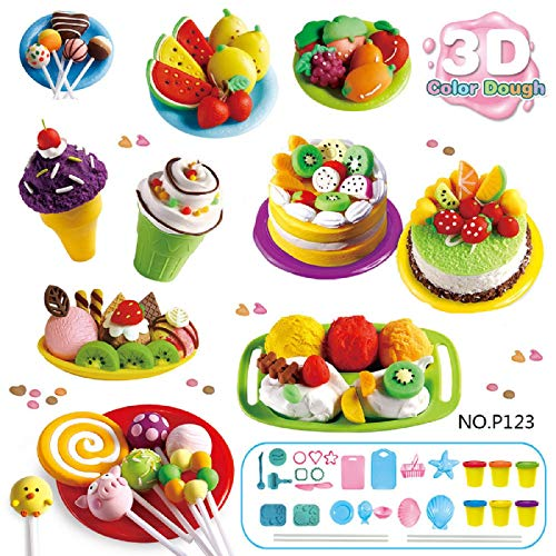 Putars Play Dough Mold Set Ice Cream Ice Lolly Cake Soft Clay Plasticine Kids Toy Gift, Ultra-Light Plasticine Clay for Kids,Teens,Creative Art DIY Crafts,Birthday Gift for Kids