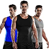 DRSKIN 3 Pack Men's Athletic Compression Sleeveless Tank Top Shirt Muscle Running Cool Dry Baselayer (NM-TA-(B,G,BL), L)
