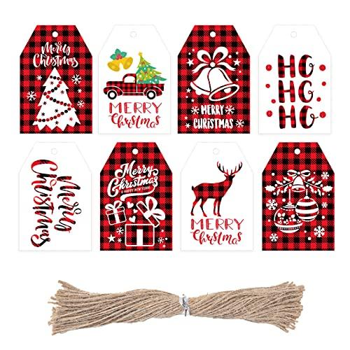 Starrky Christmas Kraft Paper Tags, 120PCS Buffalo Plaid Gift Tags Kraft Paper Christmas Gift Tags Gift Wrap Tags Editable Blank Gift Labels for Christmas Wedding Birthday Thanksgiving Gift