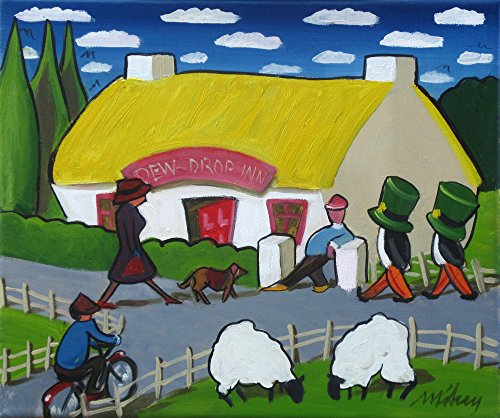 all-welcome-at-the-dew-drop-inn-original-oil-painting-framed-by-mikey-roberts-art-from-ireland-free-