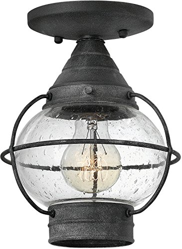 Hinkley 2203DZ Nautical One Light Flush Mount from Cape Cod collection in Bronze/Darkfinish,