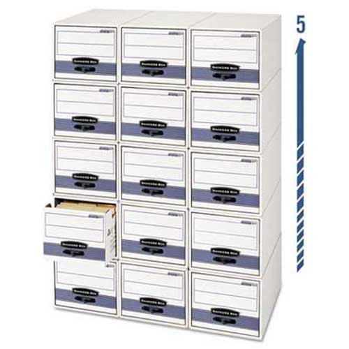 Bankers Box STOR/DRAWER Steel Plus Storage Box, Wire, White/Blue, 12/CT (Drawer Box Bankers Storage)