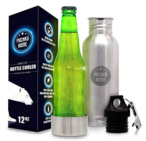Stainless Steel Beer Bottle Cooler Keeper Insulator with Bottle Opener Gift - Fits Most 12-Ounce Glass Bottles to Keep Beer or Carbonated Drinks Cold for a Long Time + Metal Bottle Opener (Beer Monster Bottle Opener)