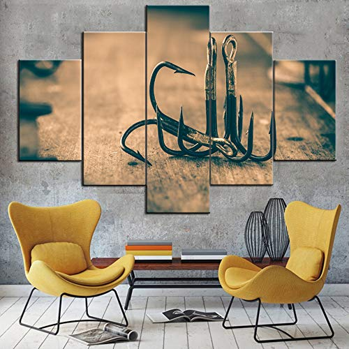 Fishing Tools Wall Canvas Art Black and White Pictures Fishhook Paintings 5 Panel Prints Wall Art for Living Room Vintage Artwork Modern Home Decor Gallery-Wrapped Framed Ready to Hang(60''W x 40''H)