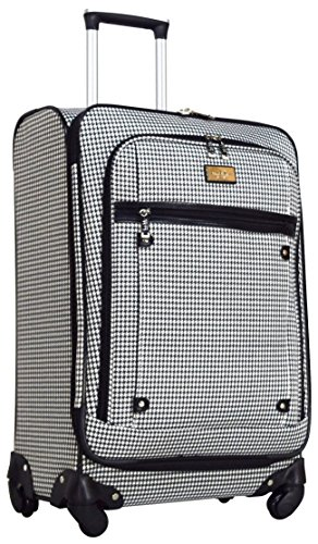 Nicole Miller New York Taylor 24'' Expandable Spinner Suitcase (Black/White Plaid) by Nicole Miller New York (Image #4)