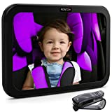 Baby Car Mirror by FORTEM | Rear View Backseat Mirror for Babies and Toddlers | Wide Angle w/Shatterproof Glass | Crash Tested for Safety | Bonus Visor Clip