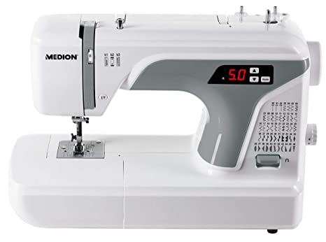 Medion MD 16661 - Máquina de coser digital, ojal automático, 40 vatios, pantalla