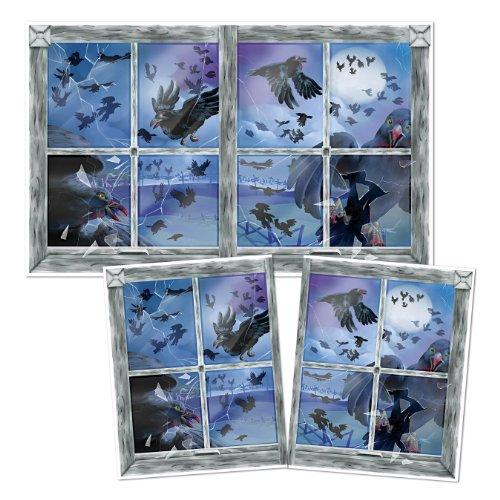 Beistle Club Pack Halloween Printed Plastic Bird Attack Window Decoration, Box of 6