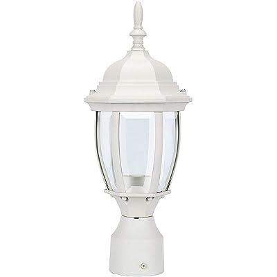 LIT-PaTH Outdoor Post Light Pole Lantern Lighting Fixture with One E26 Base Max 100W, Aluminum Housing Plus Glass, Matte White Finish