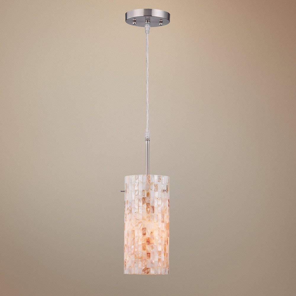 Lite Source Inc Lite Source LS-19381 Schale Pendant Lamp with Shell Shade, Polished Steel,