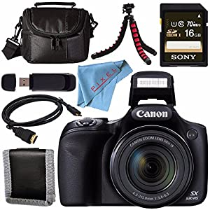 Canon PowerShot SX530 HS Digital Camera 9779B001 + Sony 16GB SDHC Card + Mini HDMI Cable + Small Case + Memory Card Wallet Bundle