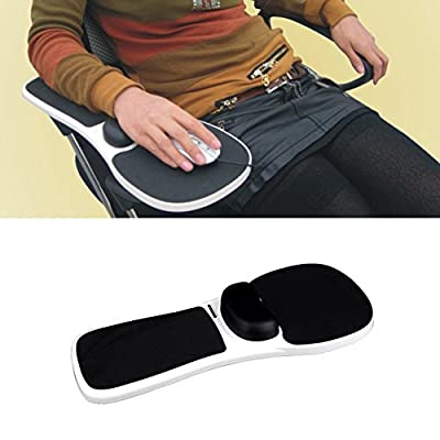 Ozzptuu ABS Plastic Computer Chair Arm Rest Mouse Pad Mat Home Office Armrest Wrist Support Black White