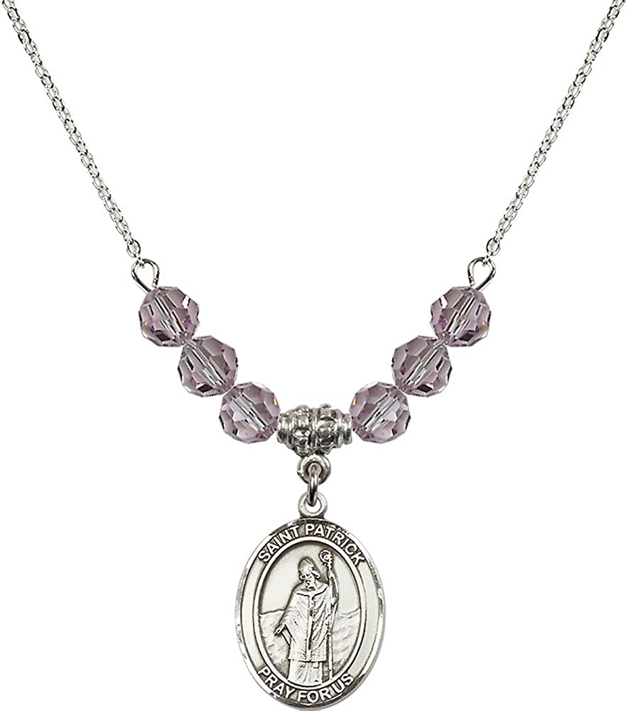 18-Inch Rhodium Plated Necklace with 6mm Light Amethyst Birthstone Beads and Sterling Silver Saint Patrick Charm.