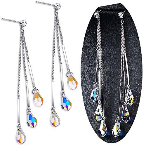 Color Change Dangle Earring, 925 Sterling Silver Tassels Drop Earrings With Swarovski Element (Swarovski Dangling Earrings)
