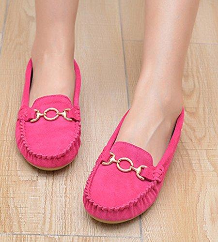 Aisun Damen Wildlederoptik Weiche Sohle Flache Schuhe Mokassins Pink