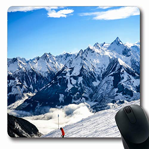 Ahawoso Mousepads for Computers Ski Resort Snow Mountain Skier Nature Parks Skiing Snowboard Winter Peak Range Oblong Shape 7.9 x 9.5 Inches Non-Slip Oblong Gaming Mouse - Snow Shape Ski
